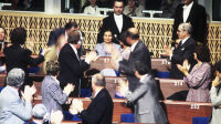 Simone VEIL newly elected President of the European Parliament during the first session of the first directly-elected European Parliament.