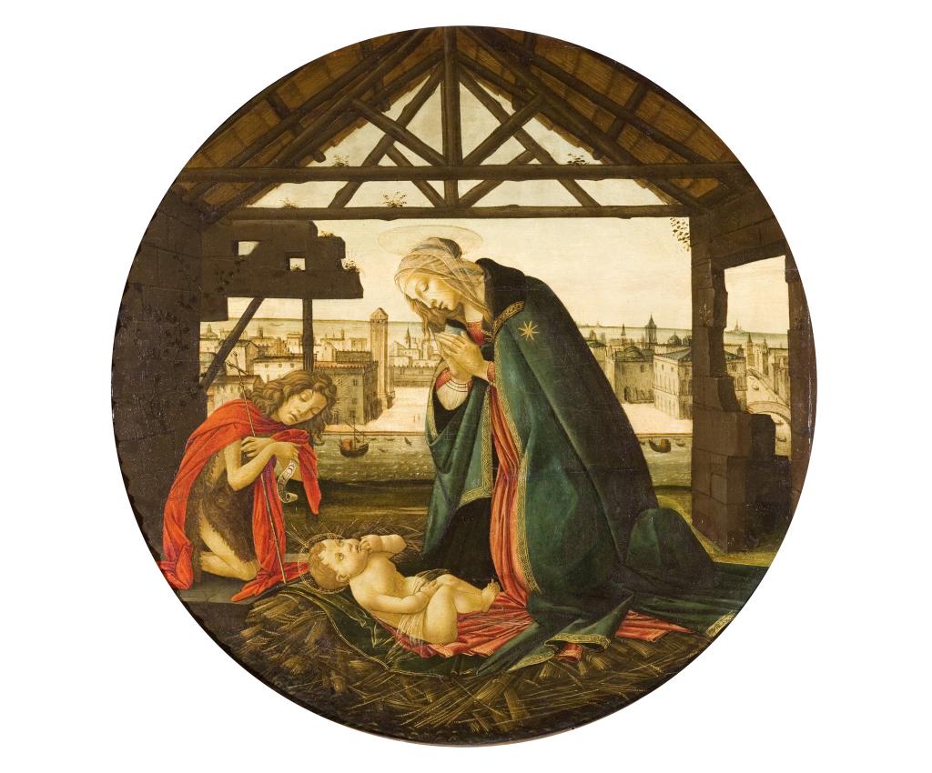 Atelier de Botticelli, Nativité devant une ville maritime, après 1490