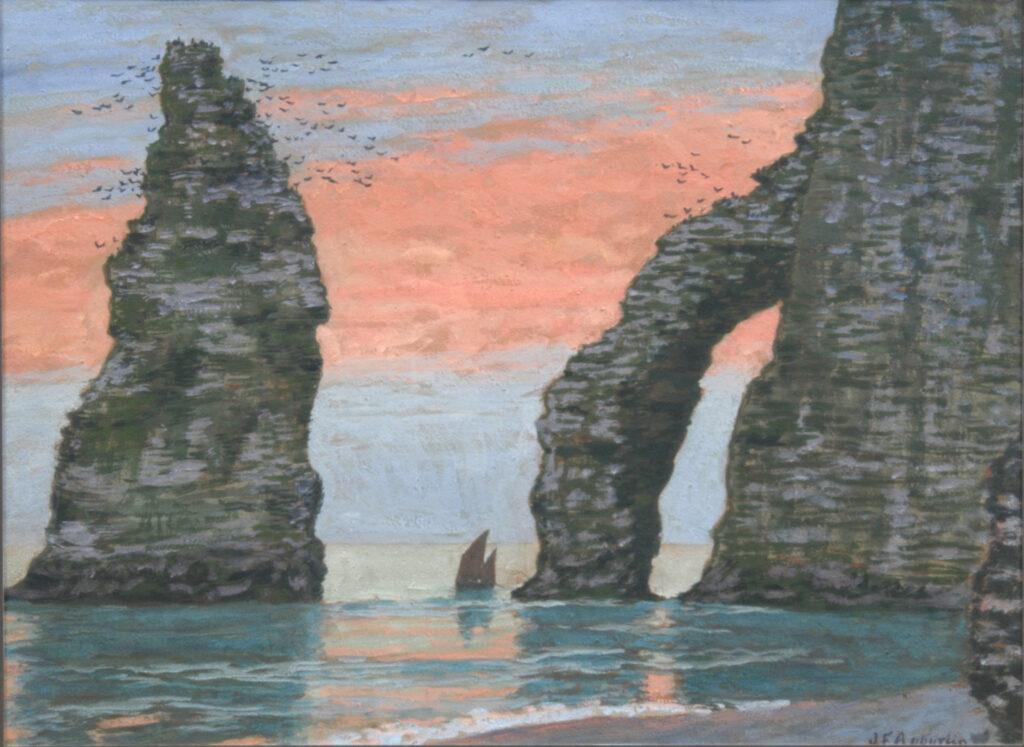 Jean-Francis Auburtin, L'aiguille d'Etretat , ciel rouge, vers 1898