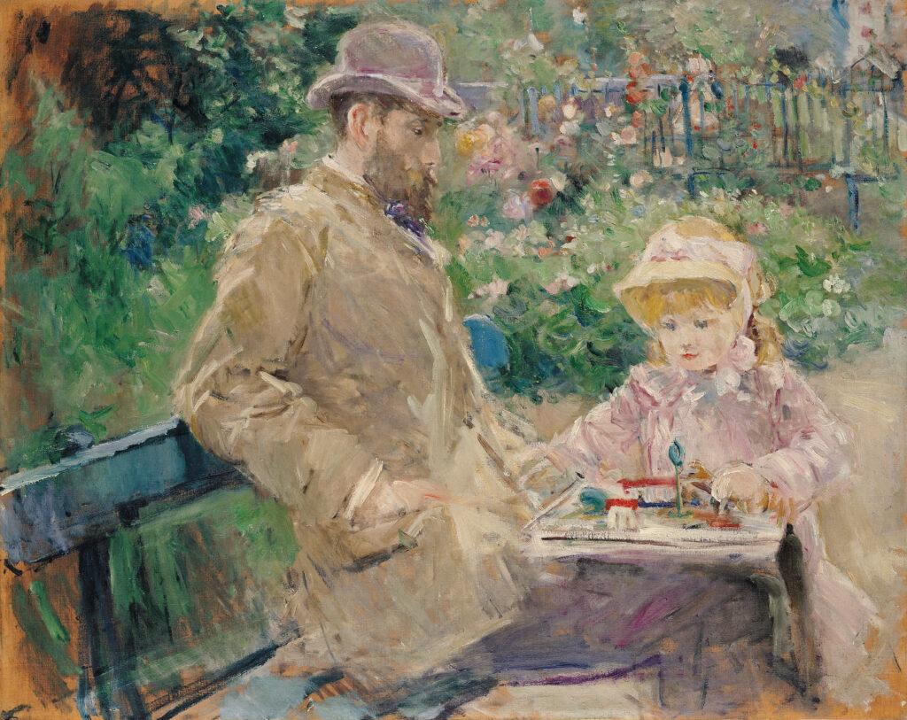 Berthe Morisot, Eugène Manet et sa fille dans le jardin de Bougival, 1881