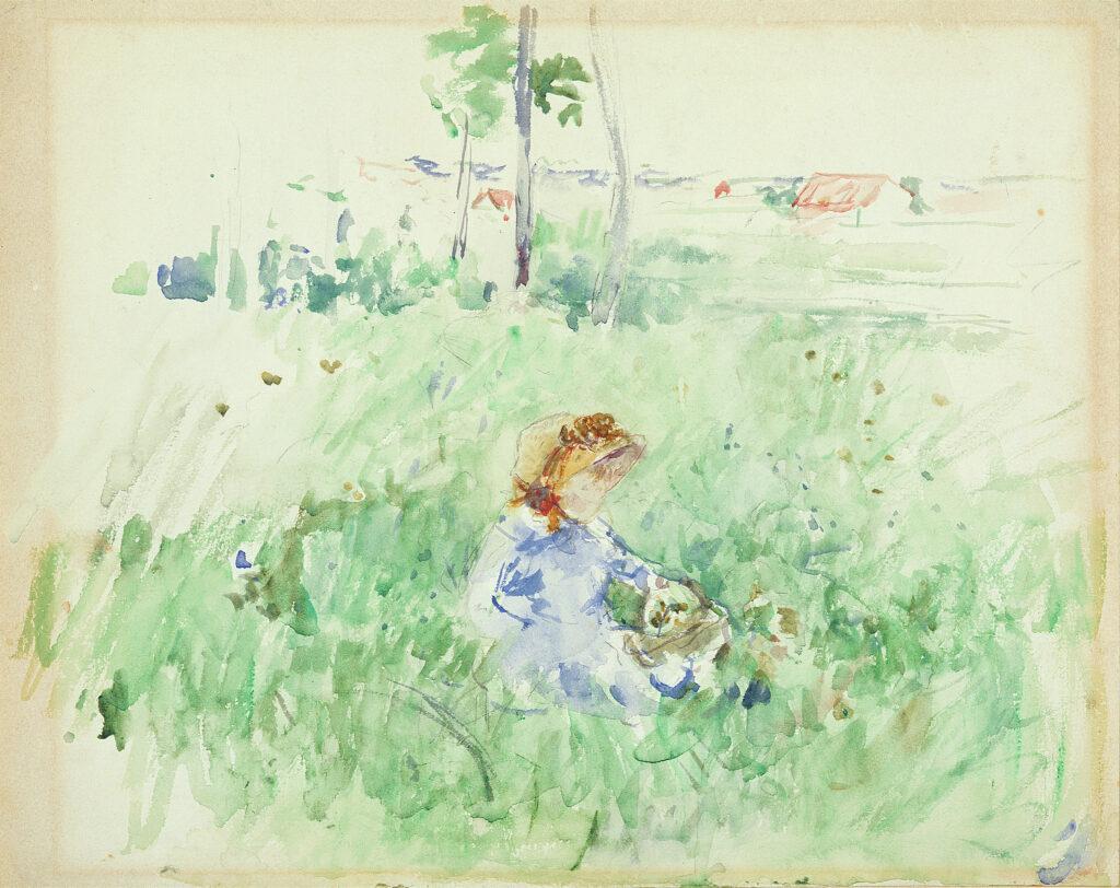 Berthe Morisot, Petite fille assise dans l'herbe, 1882