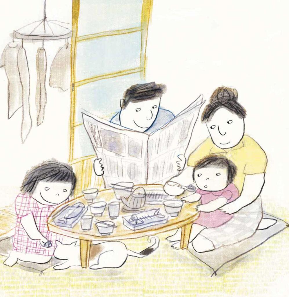 Le personnage de Momoko en famille