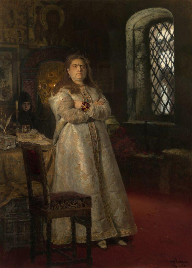 Ilya Répine, La Tsarevna Sofia Alexeïevna au couvent Novodievitchi en 1698, 1879,