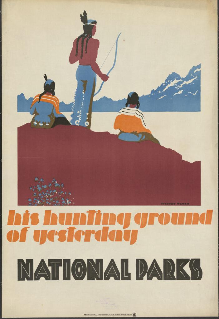 Sur la piste des Sioux, Affiche pour la promotion du tourisme dans le Montana