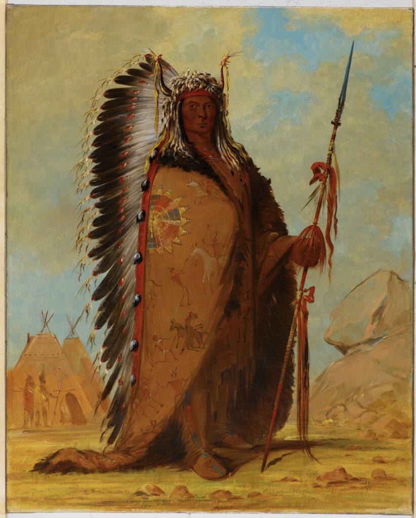 Portrait de Ee-ah-Sa-Pa (La Roche Noire), chef des Nee-Cow-e-je, bande de la tribu des Sioux, 1845 - George Catlin (1796-1872