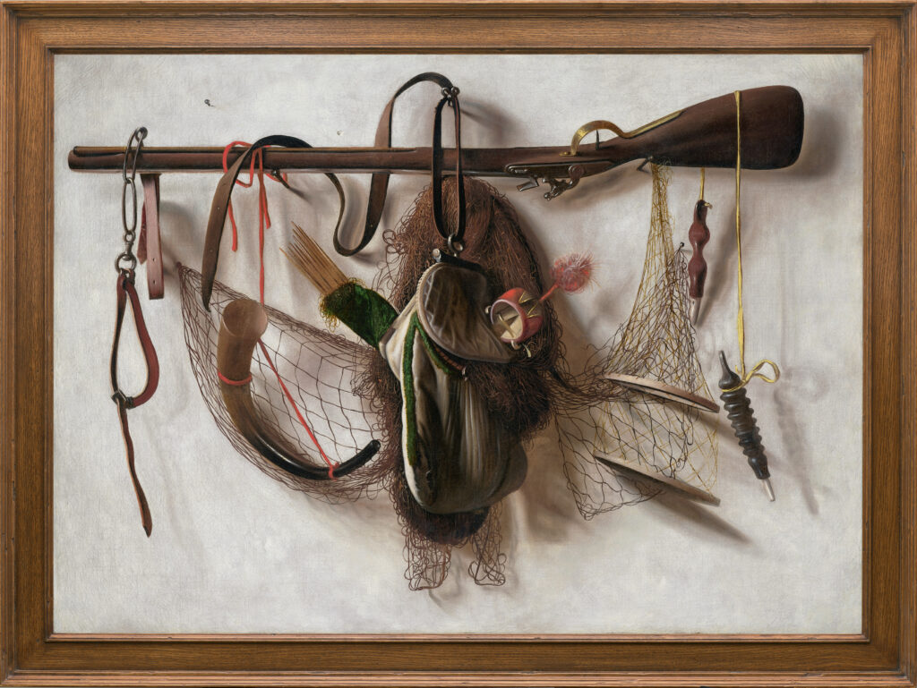 Natures mortes avec équipement de fauconnerie, Tableau d'attirail de chasse en trompe l'œil