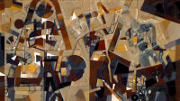 ASSADOUR, Figures in a City Landscape , 2006. Huile sur toile, 114 x 146 cm