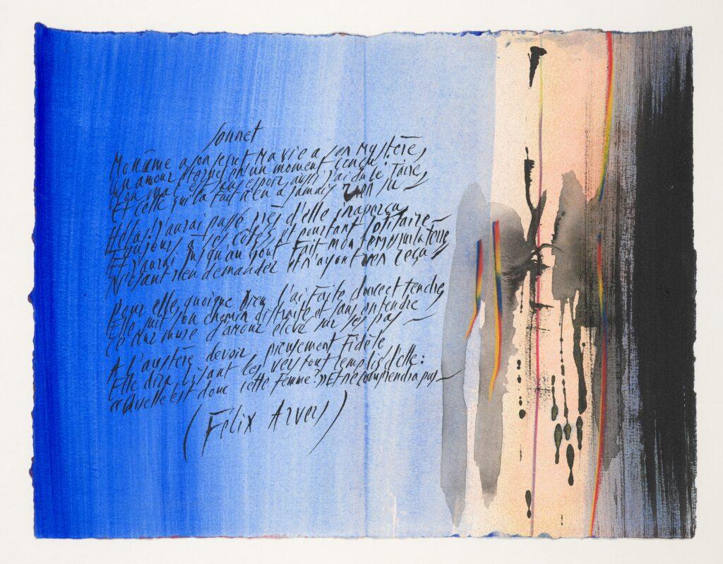 Instants romantiques. Choix et graphies de Jean Cor-tot, lavis aquarellés de Julius Baltazar, 1990. Paris, BnF, Réserve des livres rares. Photo BnF. Jean Cortot et Julius Baltazar