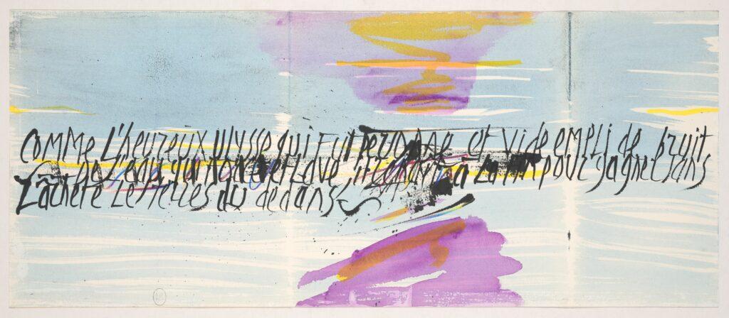 Chant pour Ulysse, Philippe Delaveau. Calligraphies de Jean Cortot et peintures originales de Julius Baltazar, 1992. Paris, BnF, Réserve des livres rares. Photo BnF. Jean Cortot et Julius Baltazar